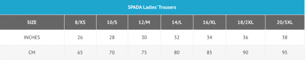 Spada ladies trousers sizing chart