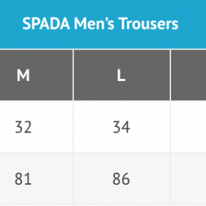 Spada mens trousers sizing chart